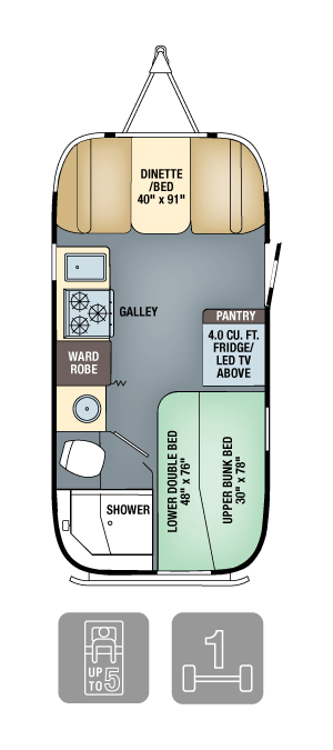 Airstream Flying Cloud 19 Bunk Floorplan & Specs