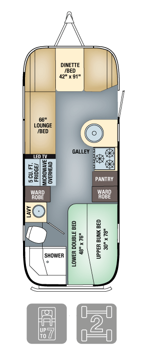 Airstream Flying Cloud 23D Bunk Floor Plan
