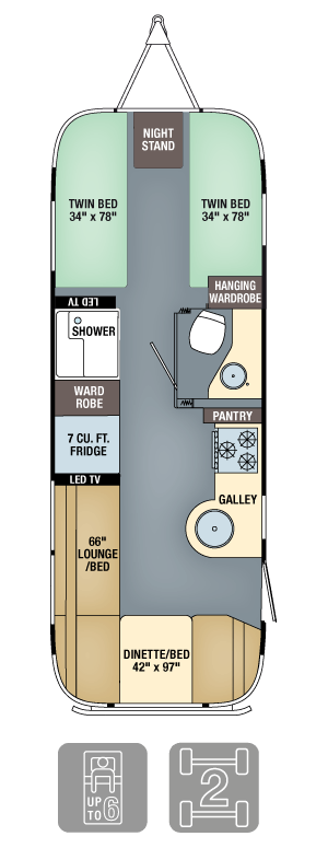 Airstream Flying Cloud 25FB Twin Floor Plan