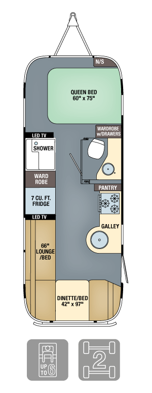 Airstream Flying Cloud 25FB Floor Plan
