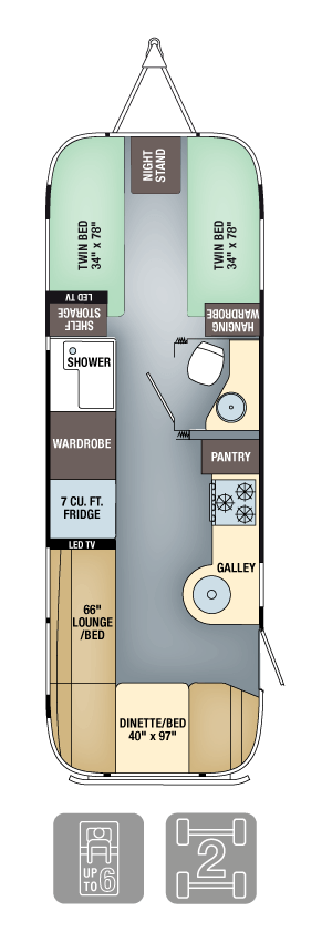Airstream Flying Cloud 27FB Twin Floor Plan