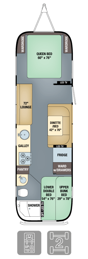 Airstream Flying Cloud 30 Bunk Floor Plan