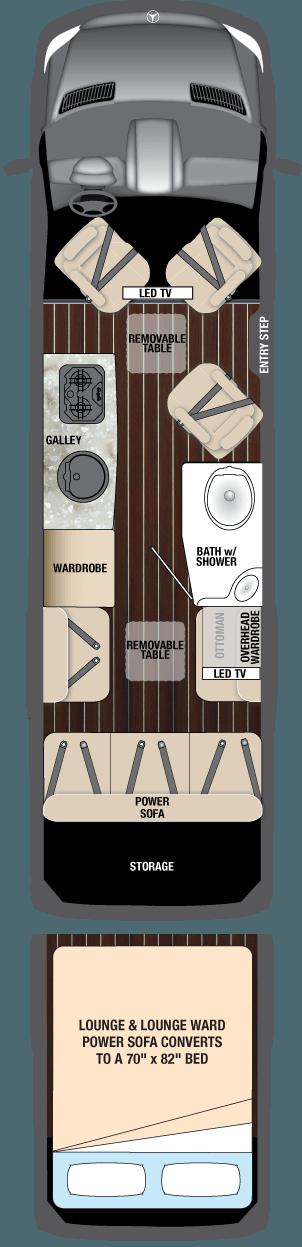 Airstream Interstate Lounge EXT with wardrobe Floor Plan