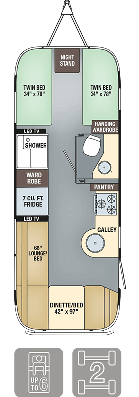 Airstream Interanational Serenity 25FB Twin Floor Plan