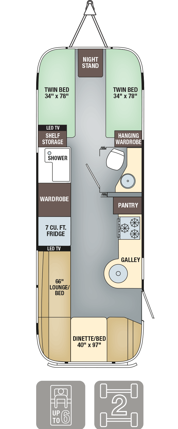 Airstream Interanational Serenity 27FB Twin Floor Plan