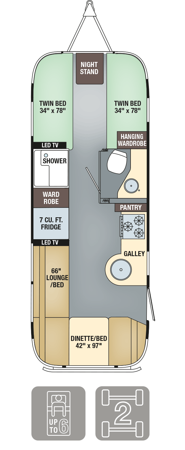 Airstream Interanational Signature 25 Twin Floor Plan