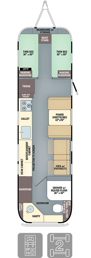 Airstream Classic 33 Twin Floor Plan