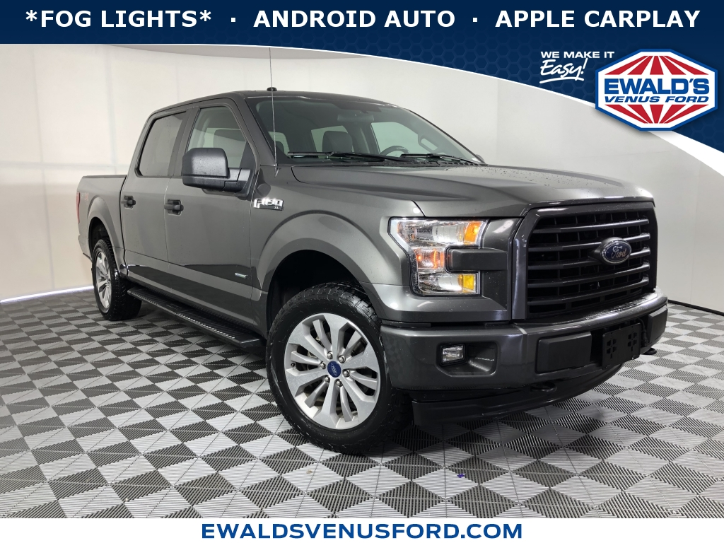 2017 Ford F-150 Gray This 2017 Ford F-150 features a Gray exterior with a Black Interior With 44