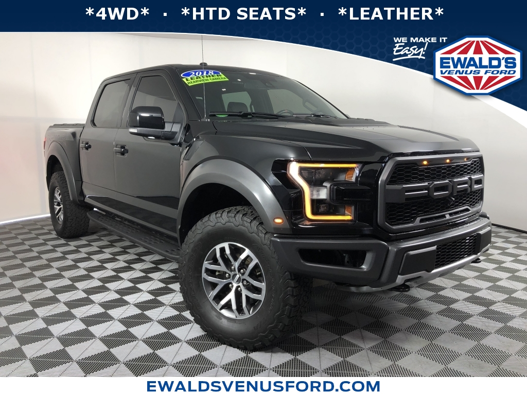 2018 Ford F-150 Raptor Black DESIRABLE FEATURES 4WD LEATHER HTD SEATS SYNC 3 FOG LIG