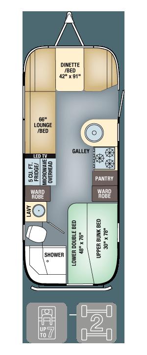 Airstream Flying Cloud 23D Bunk Floor Plan
