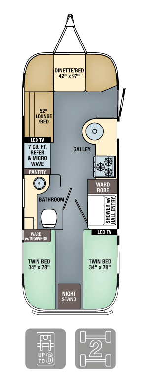 Airstream Flying Cloud 25 Twin Floor Plan