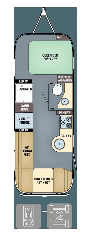 Airstream Flying Cloud 25FB Floor Plan
