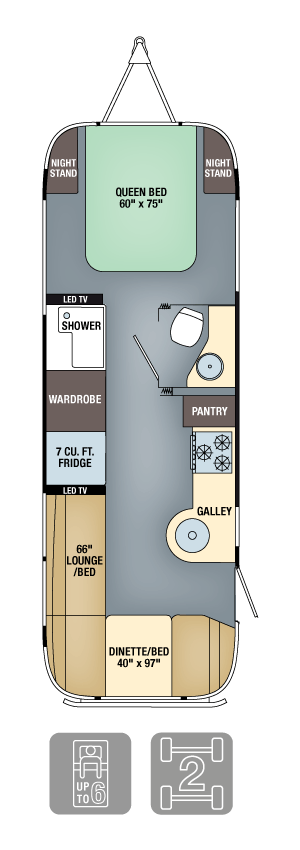 Airstream Flying Cloud 27FB Floor Plan