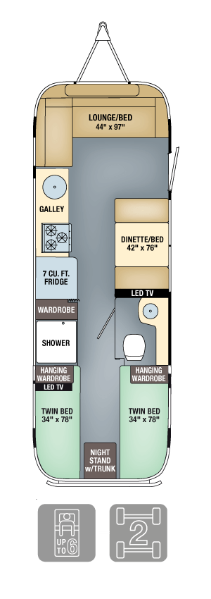 Airstream Flying Cloud 28 Twin Floor Plan