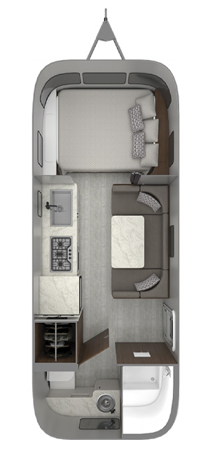 Airstream Caravel 22FB Floor Plan