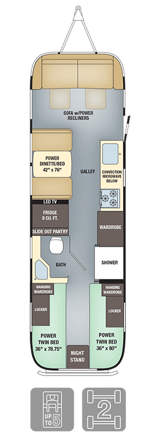 Airstream Classic 30 Twin Floor Plan