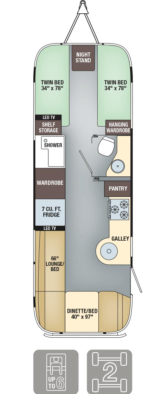 Airstream Interanational Serenity 27FB Twin Floor Plan
