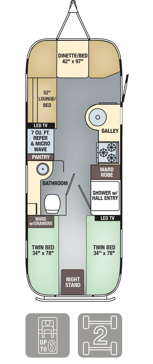 Airstream Interanational Signature 25 Twin Floor Plan