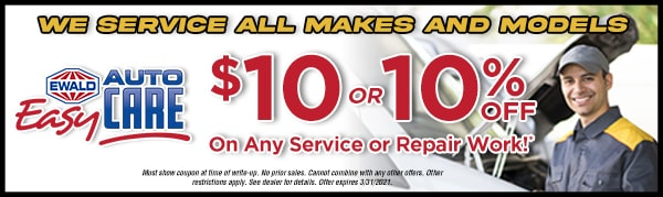 $10 or 10% off on any serice or repair work - terms and conditions apply