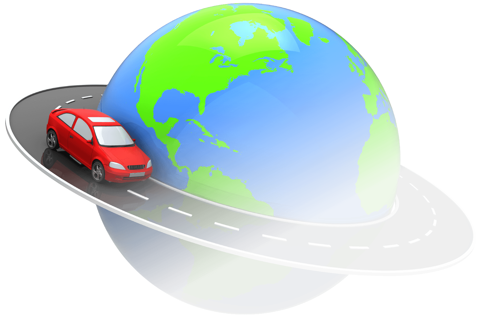 Car traveling around the world