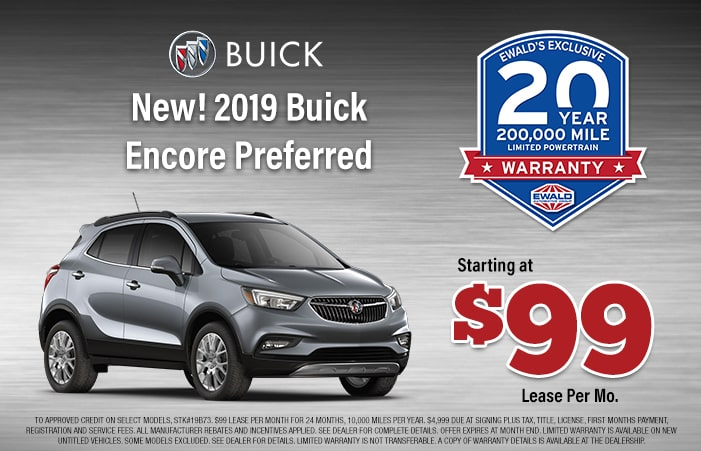 Buick Suv Lease >> New 2019 Buick Encore Lease Offer Ewald Chevrolet Buick